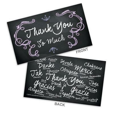 100 Pcs Thank You Bulk Business Card Black & White Chalkboard Note Special Cards