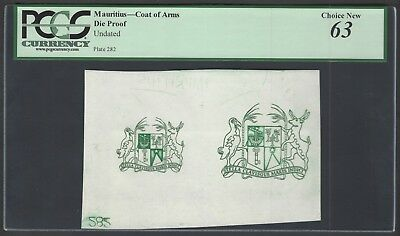 Mauritius - Coat of Arms Undated Die Proof Test Note Uncirculated