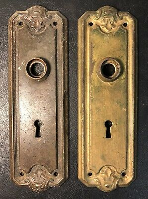 Pair of Antique Victorian  Door Back Plates Ornate Skeleton Key Holes