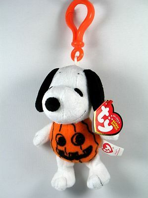 TY Halloween Beanies Plush Spirit Clip On Key Chain Pull Pumpkin