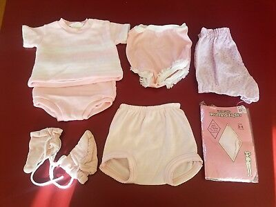 Vintage Lot of Baby Girl Clothing 2 piece Knit Set Pink diaper Coverlets Ruffled