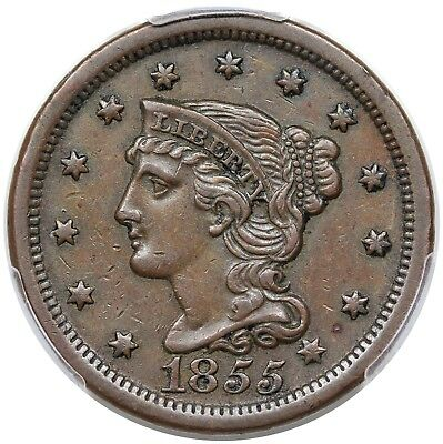 1855 Braided Hair Large Cent, Slant 5s, N-10, PCGS XF45, choice