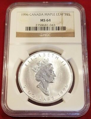 1996 Canada Maple Leaf Silver 5 Dollar Coins .9999 Purest Silver, Ngc Ms64