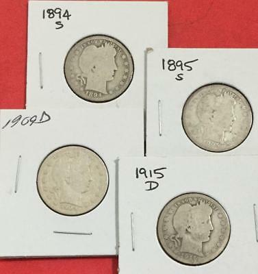 1894S 1895S 1909D & 1915D US Barber SILVER Quarters SEt of 4 Carded Coins!