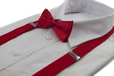 Boys Red Matching Bow Tie + Suspender Set Kids Unisex Dress Up Wedding New Style