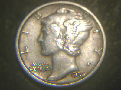 1934 Mercury Dime In Ex/fine Condition.rare.add To Set Or Collection.