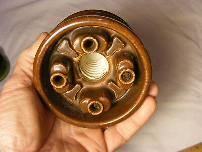 >>Unusual Brown porcelain 2 piece insulator , patent pending , maker's marks