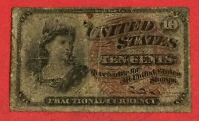 """1869 US Fractional Currency """"TEN CENTS"""" Lady LIberty! Rough! Old US Currency"""