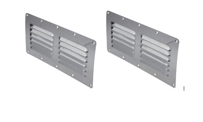 Stainless Steel Rectangular 12 Louvre Air Vent, Caravan, Boat, Wall Eave