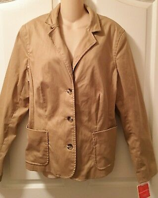 NWT Isaac Mizrahi BLAZER JACKET Ladies 3 Button XXL BURNISHED TAN Fully Lined