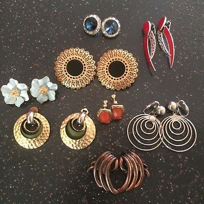 Vingtage - Now Clip on Earrings Screw On Earrings Lot of 8 Crystals Various
