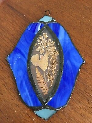 "Leaded Stained Glass Suncatcher 6"" by 4 1/2""  Cobalt Blue Dried Flowers & Fern"