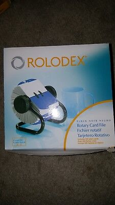 Rolodex Rotary Card File 66704 Black New 500 Card With Tabs