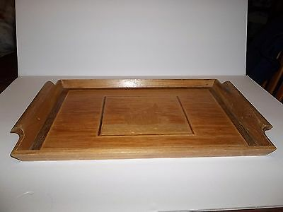 Vintage Hand Crafted Wooden Serving Tray With Swan Inlaid Raised Edges & Handles