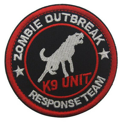 Zombie Outbreak Responsetea K9 Unit Morale Badge Embroidered Hook Loop Patch /01