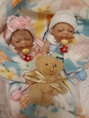 Tiny Reborn Twins Lifelike 11 In  Pacifiers.  Boy And Girl Anatomical