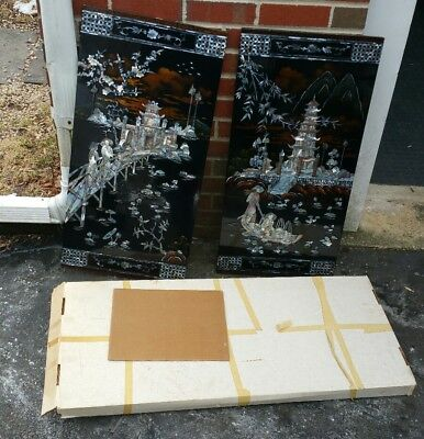 2Vintage Oriental Black Lacquer Mother of Pearl Wall Panels Chinese Art
