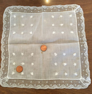 """Antique Lace-Edged Handkerchief Hand Embroidered Buds~Flowers """"AS IS/AS FOUND"""""""