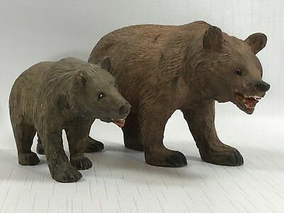 Great Pair of Vintage Hand Carved Wood Bears Mommy & Baby Germany ?