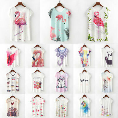 Summer Women Floral Animal Print Batwing T-Shirts Casual Loose Crew Tops Blouse