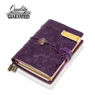 Traveler Notebook Leather Small Journal Notebook ,Flowers Embossed Vintage Note