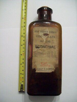 Eli Lilly Medicine Bottle BRONCHIAL Lozenges No.295 with Content