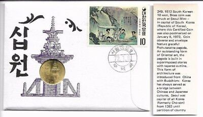 South Korea 10 won 1972 certified coin set Jan 6 / 72 from Seoul mint