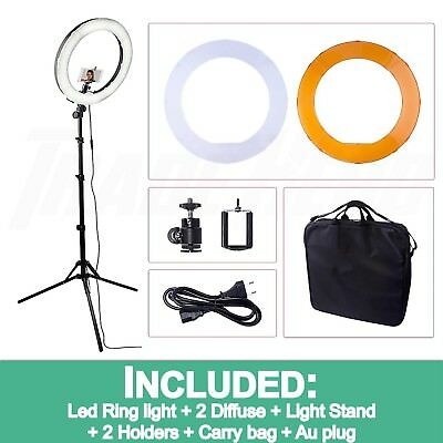 """19"""" 5500K Dimmable Diva LED SMD Ring Light Diffuser Mirror Stand Make Up Studio"""