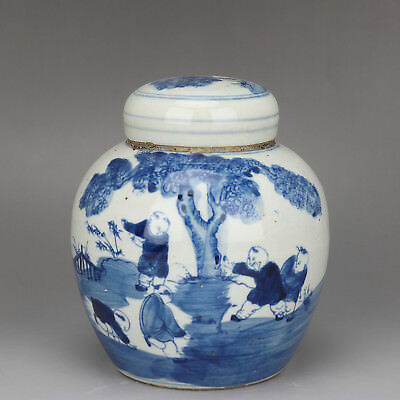 China old Porcelain Qing guangxu blue white painting children Tea canister pot