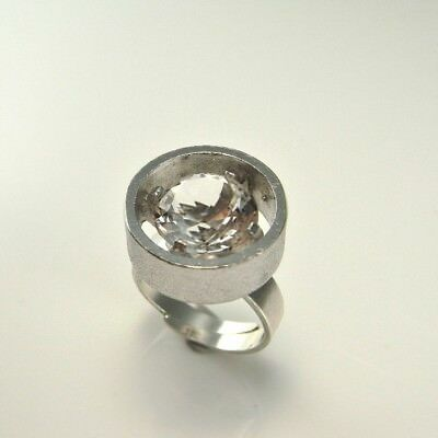 Natural Quartz Rock Crystal Ring Sterling Silver 925 Big Geometric Circle Signet