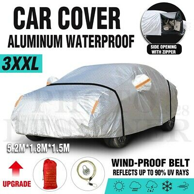 Aluminum Waterproof 3 Layers Double Thicker Car Cover Rain Resistant UV Dust AU