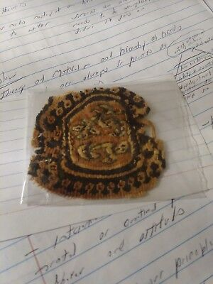 1300 year old EARLY ISLAMIC/COPTIC textile cloth. Multi colored deco.  Rondel