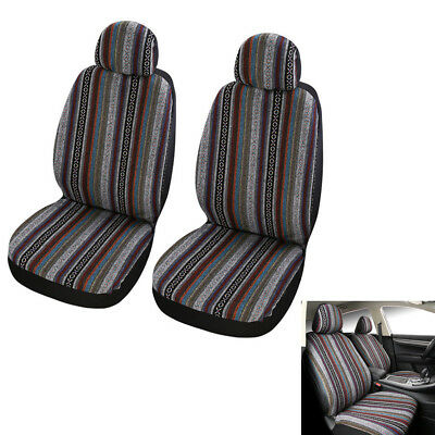 Exotic Thick Pure Linen Strips Front 2 Seat Car Seat Cover Protector Cushion Mat