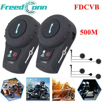 2x 500M Bluetooth Motorcycle Intercom 2-Riders Helmet bike Interphone Headset FM