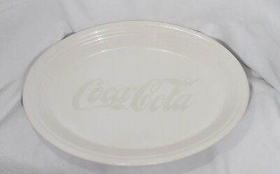 "Coca Cola Coke Oval Serving Platter 13 1/2"" White Restuarant Wear Nos Mint D182"