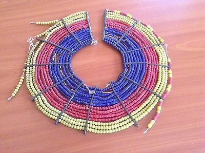 African-Arena Handmade Pokot Women Antique Blue Red Yellow Jewelry Necklace