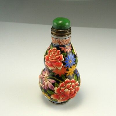 Signed 18th Century Qianlong Snuff Bottle Enamel Glass Antique Chinese Floral
