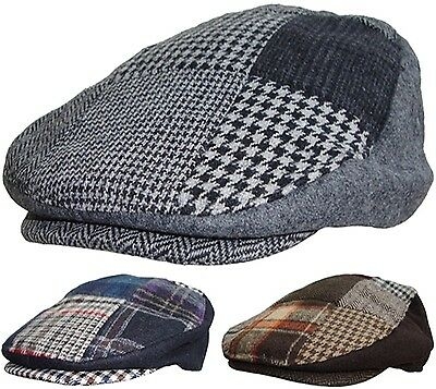Uomo Patchwork Coppola Tweed Country Cappello con Visiera Racing Tappi in  Blu 8a8dae7dc6d6