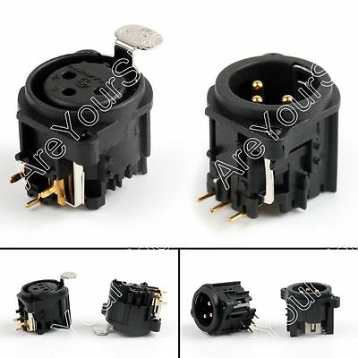 3Pole XLR Male/Female Gold Right Angle Chassis PCB Panel Socket Connector BS4