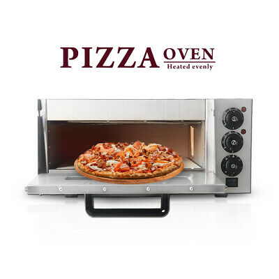 Stainless Steel Pizza Oven Single Deck Thermostat Timer 395*395mm Baking Stone