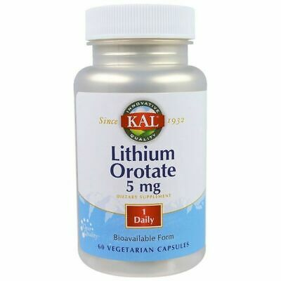 LITHIUM OROTATE 5 mg 60 Veggie Capsules KAL CHELATED HIGHLY BIOAVAILABLE FORMULA