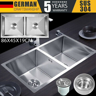 Handmade 304 Stainless Steel Kitchen Sink Undermount/Topmount Double Bowl AU