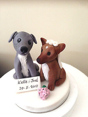 Bride and Groom Dog couple wedding cake topper edible fondant 3D iceing sugar