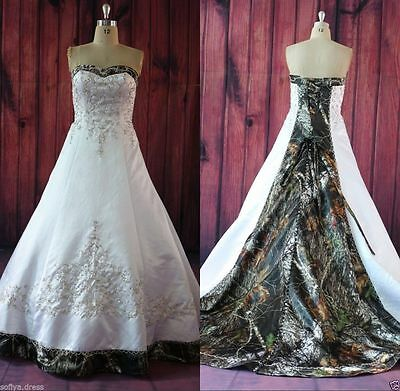New Plus Size Camo Wedding Dress/Gown Satin Lace-up Bridal Gowns Custom-MADE