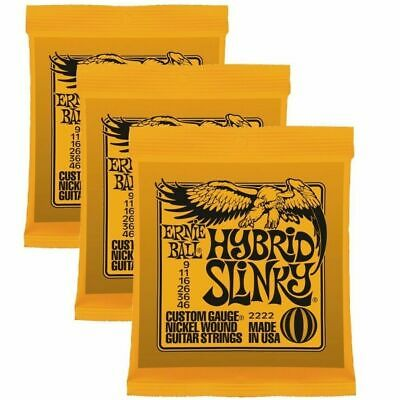 3 x  Ernie Ball Hybrid Slinky  2222   .009 - .046  Electric Guitar Strings