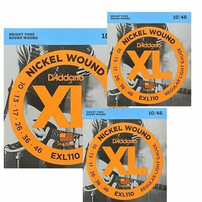 3 sets D'Addario EXL110  Regular Light Electric Guitar Strings 10 - 46  EXL 110