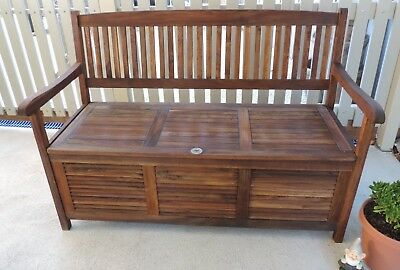 Solid Teak Outdoor Bench with Under Seat Storage, BBQ, Extra Seating