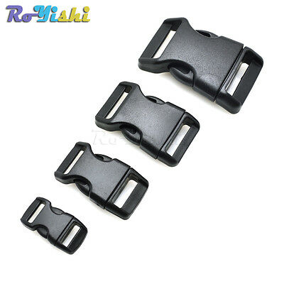 "3/8"" 5/8"" 3/4"" 1"" Contoured Side Release Buckles for paracord Bracelets Black"