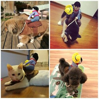 Funny Pet Dog Cat Costume Suit Clothes Party Dress Cosplay Riding Horse Cowboy