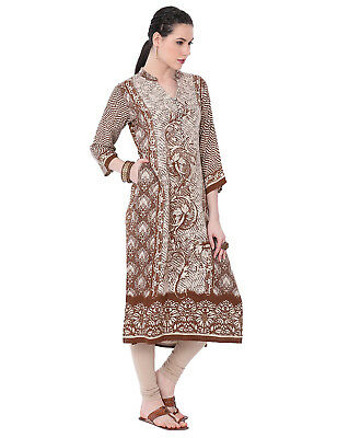 New Indian Bollywood Gold Foil Printed Rayon Collection Lagi Women Ethnic Kurti